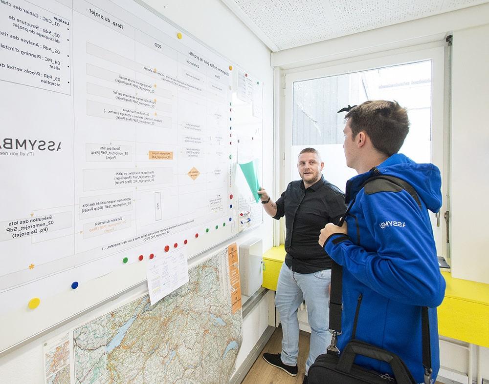 deux hommes discutant à propos de données inscrites sur un tableau blanc
